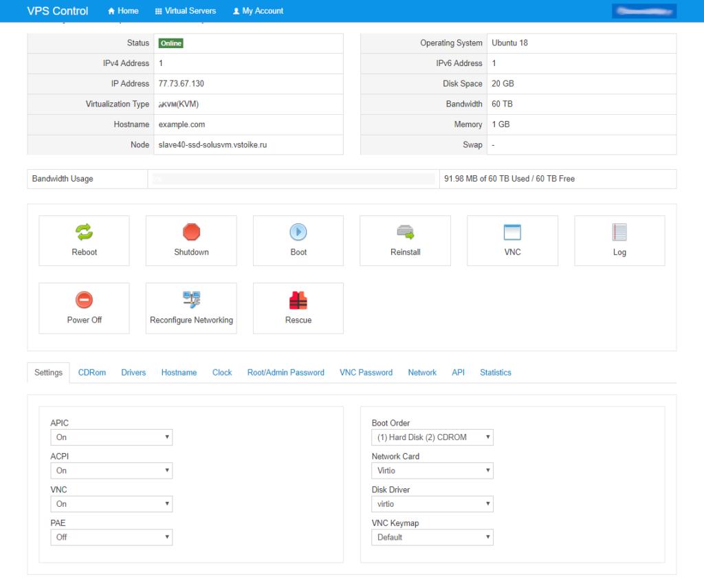 панель управления сервером veesp.com